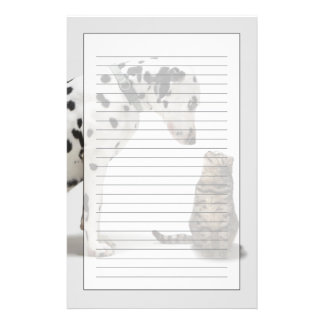 A dog looking at a cat custom stationery