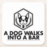 "A Dog Walks Into a Bar - Black and White Coaster<br><div class=""desc"">Don&#39;t let your delicious,  cold,  hoppy beverage mess up your furniture... use these fancy coasters instead!  They&#39;re bound to please,  they make great gifts,  and they help to protect all the things (well,  mostly wood surfaces).  Proceeds will be donated to our local animal shelter.</div>"