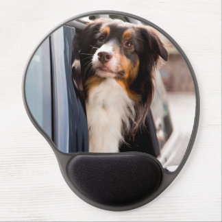 A Dog With Her Head Out of a Car Window Gel Mouse Pad