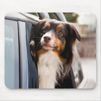 A Dog With Her Head Out of a Car Window Mouse Pad