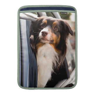 A Dog With Her Head Out of a Car Window Sleeves For MacBook Air