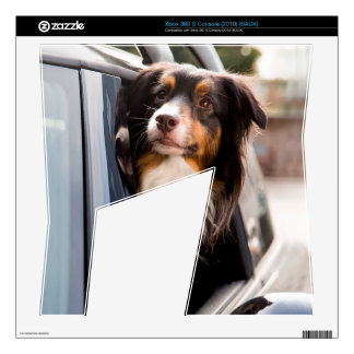 A Dog With Her Head Out of a Car Window Xbox 360 S Console Skin