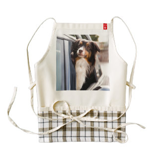 A Dog With Her Head Out of a Car Window Zazzle HEART Apron
