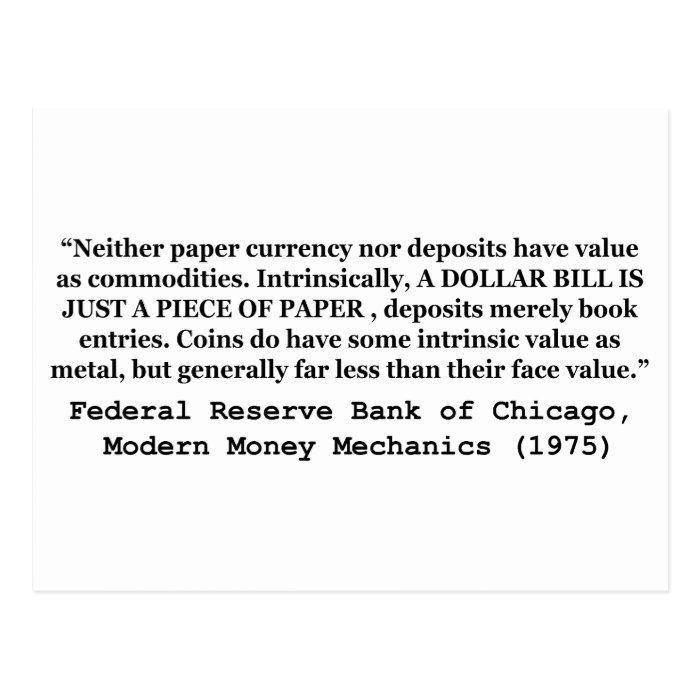 A Dollar Bill Is Just a Piece of Paper Postcard