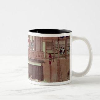 A domestic scene   of a scroll) Two-Tone coffee mug
