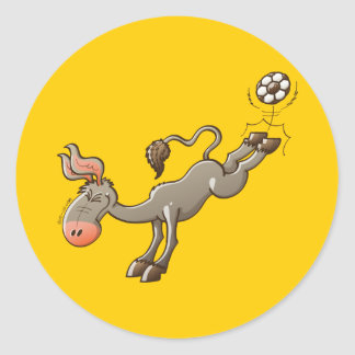 A Donkey has the most Powerful Kick of Soccer Classic Round Sticker