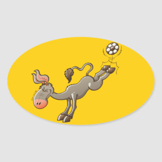 A Donkey has the most Powerful Kick of Soccer Oval Sticker