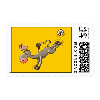 A Donkey has the most Powerful Kick of Soccer Postage Stamp