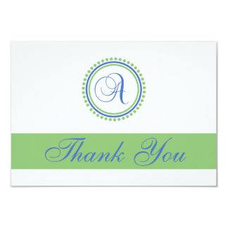 A Dot Circle Monogam Thank You Cards (Blue / Mint)