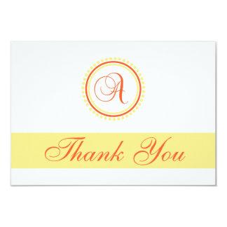 A Dot Circle Monogam Thank You (Orange / Yellow) Card