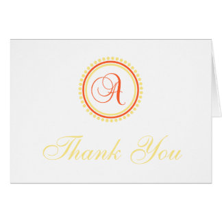 A Dot Circle Monogam Thank You (Orange / Yellow) Card