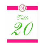 A Dot Circle Monogram Table Number (Hot Pink/Lime) Post Card