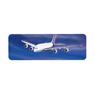 A Double Decker Commercial Airplane Label