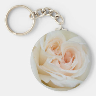 A Double Hearted Romantic White Rose Keychain