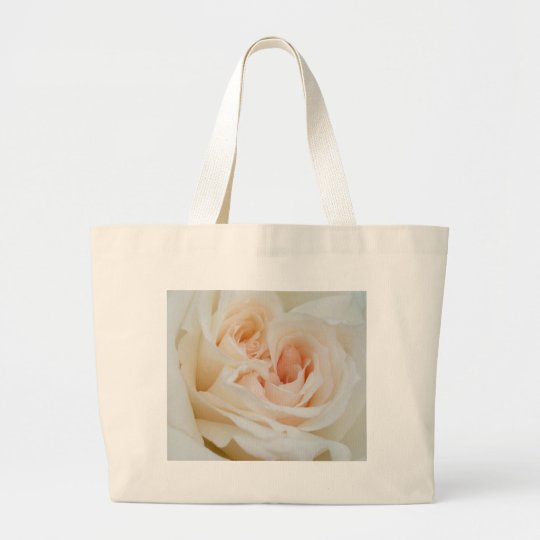 A Double Hearted Romantic White Rose Large Tote Bag