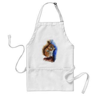 A Douglas Squirrel, watercolor pencil Adult Apron