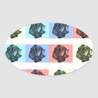 A Dozen Abstract Roses Oval Sticker