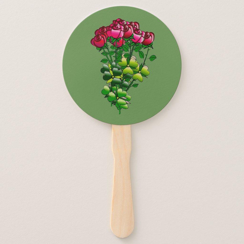 A Dozen Roses Hand Fan