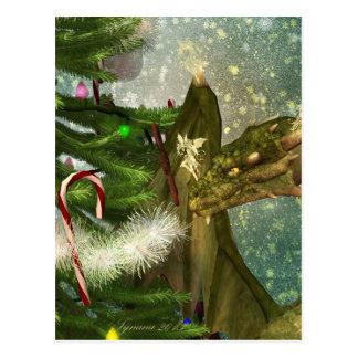 A Dragon and Fairies Christmas Postcard