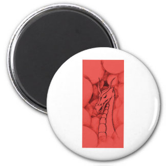 A dragon in smoke (red) magnet