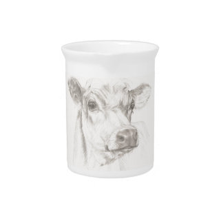 A drawing of a young cow drink pitcher