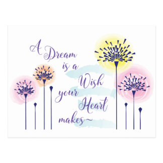A dream is just a wish a heart makes postcard