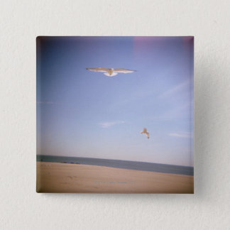 a dreamy image of seagulls flying at the beach pinback button