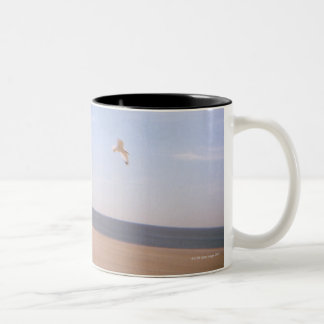 a dreamy image of seagulls flying at the beach Two-Tone coffee mug