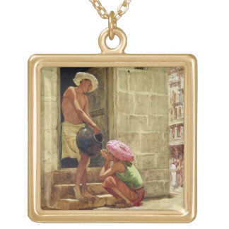 A Drink on the Way, 1876 (w/c on paper) Gold Plated Necklace