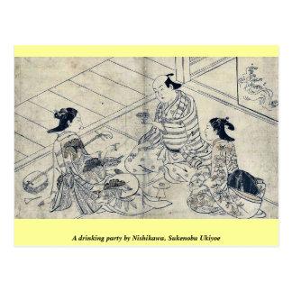 A drinking party by Nishikawa, Sukenobu Ukiyoe Postcards