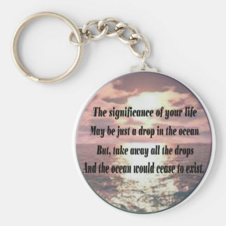 A drop in the ocean basic round button keychain