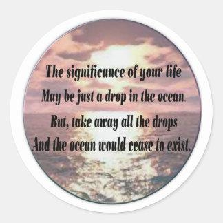 A drop in the ocean classic round sticker