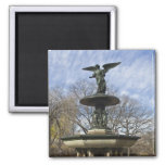 A dry winter Bethesda Fountain in Central Park 2 Inch Square Magnet