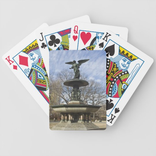 A dry winter Bethesda Fountain in Central Park Bicycle Playing Cards