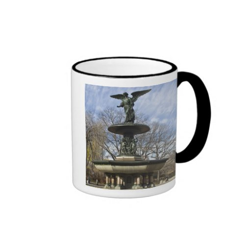 A dry winter Bethesda Fountain in Central Park Ringer Coffee Mug