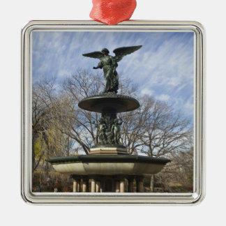 A dry winter Bethesda Fountain in Central Park Square Metal Christmas Ornament