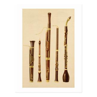 A dulcian, an oboe, a bassoon, an oboe da caccia a postcard