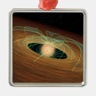 A dusty planet-forming disk in orbit ornaments
