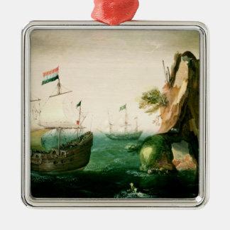 A Dutch Merchant Ship off a Rocky Coast Metal Ornament