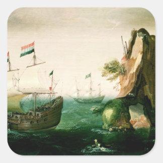 A Dutch Merchant Ship off a Rocky Coast Square Sticker