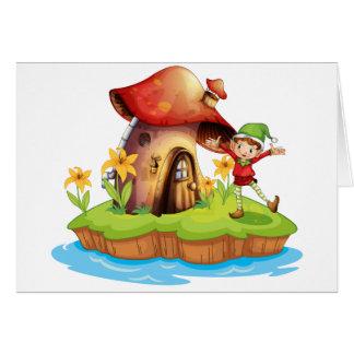 A dwarf outside a mushroom house card