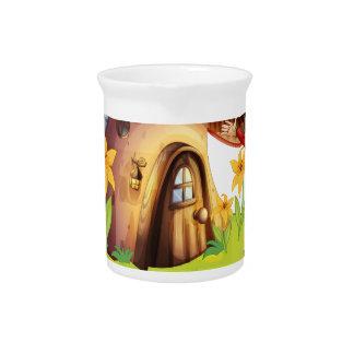 A dwarf outside a mushroom house drink pitcher