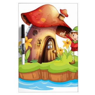 A dwarf outside a mushroom house Dry-Erase board