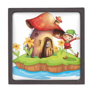 A dwarf outside a mushroom house jewelry box