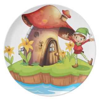 A dwarf outside a mushroom house plate