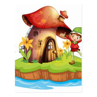 A dwarf outside a mushroom house postcard