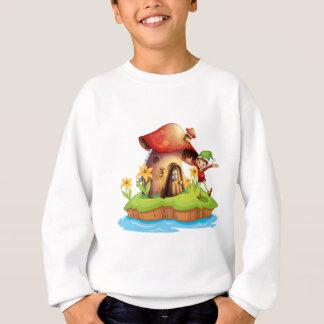 A dwarf outside a mushroom house sweatshirt