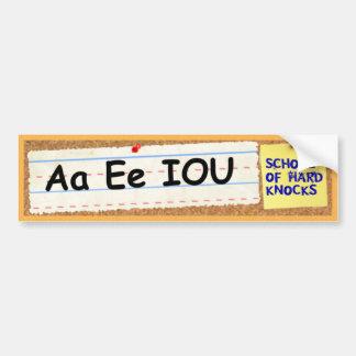 A E IOU - Learned in the School of Hard Knocks Bumper Sticker