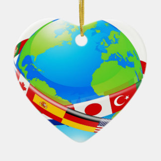 A earth globe with flags of countries christmas tree ornament