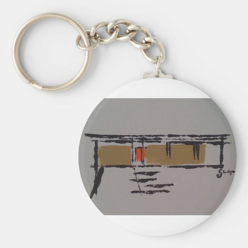 A Eichler home on a T #3 Basic Round Button Keychain